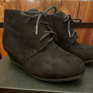 Black Wedge Booties 9c